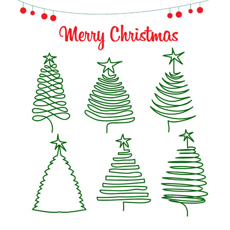 tree line: Christmas trees, pine trees hand drawing in Doodle style