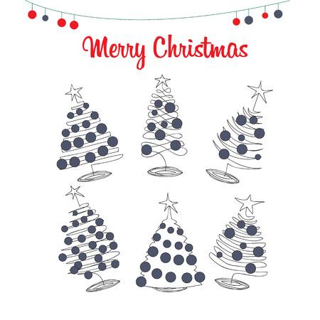 Kerstbomen, pijnbomen met kerstballen de hand tekening Doodle stijl