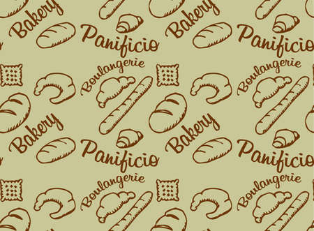 crumb: Seamless vector pattern with the image of bread and croissants Illustration