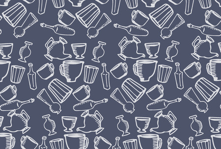 paper: Seamless vector pattern with images of kitchen utensils