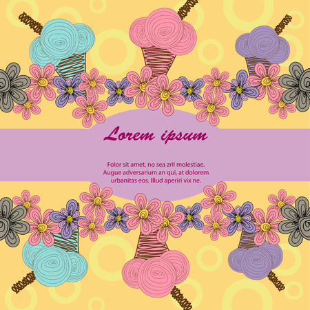 postcard background: Colour postcard of colorful  ice cream cone on a pink background and purple flowers on a yellow background