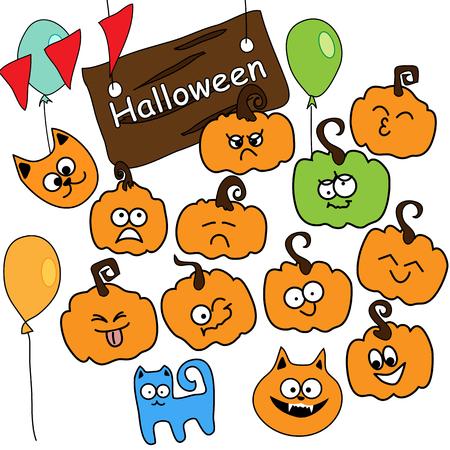 calabaza caricatura: Conjunto de vectores de iconos divertidos de Halloween, la calabaza emocional, gatos divertidos y decoraciones navide�as Vectores