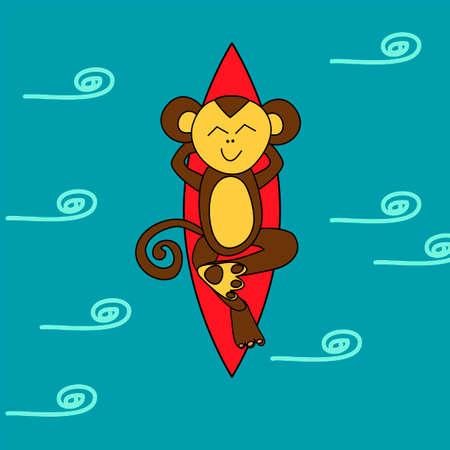 surfing: Funny brown monkey is surfing and sleeping in the ocean Illustration