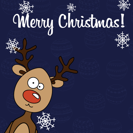 rudolph: Christmas card Rudolph with snowflakes on a blue background flat