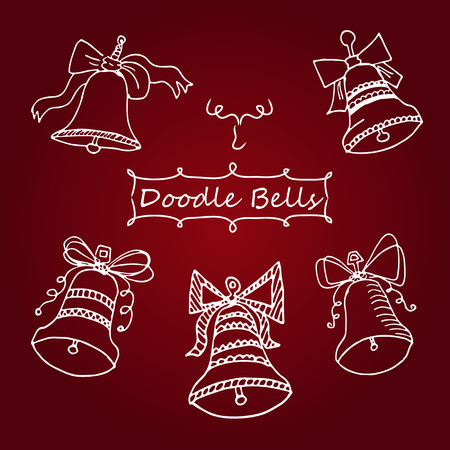 hand bells: Vector set of icons unique Christmas bells in Doodle style hand drawn