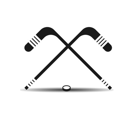 puck: Vector icon hockey sticks and a puck with shadow on light background