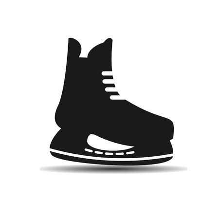 hockey skates: vector icon set of mens hockey skates with shadow on light background Illustration
