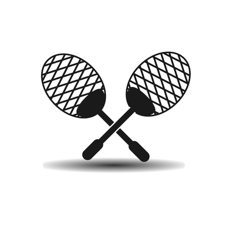 squash: Vector icon squash racket with shadow on light background