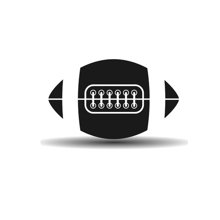 lacing: Vector icon Rugby ball with lacing with shadow on light background