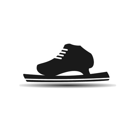 ice skates: Vector icon running ice skates with shadow on light background Illustration