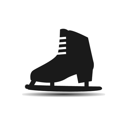 ice slide: Vector icon womens ice skates with shadow on light background