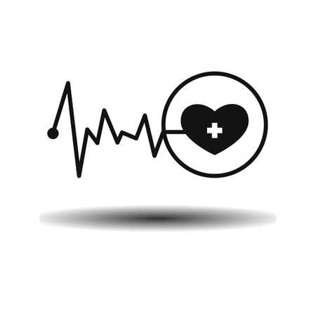 the stimulus: Medical cardiogram heart and pulse flat monochrome icon vector on light background