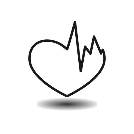 jealousy: Broken heart, heart problems monochrome flat vector icon on light background