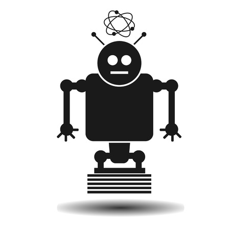 robot vector: black flat robot vector flat icon on a light background