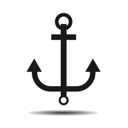 black marine anchor vector flat icon on a light background Illustration