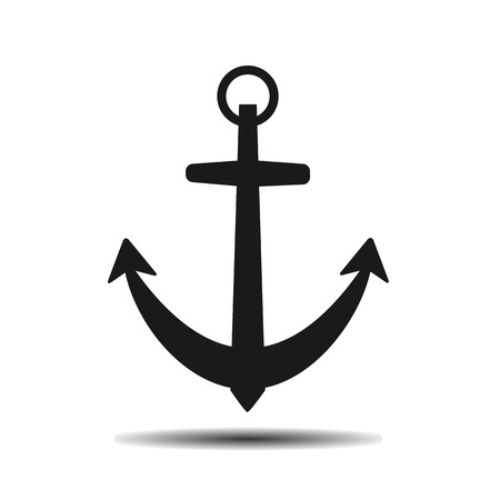 mooring: black sea anchor vector flat icon on a light background