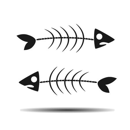skeleton fish: skeleton fish flat vector icon on light background Illustration