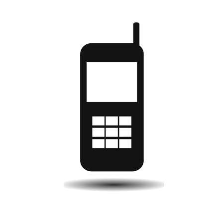 old phone: old black mobile phone flat vector icon on light background with shadow