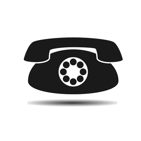 old phone: black old vintage phone flat vector icon on light background with shadow