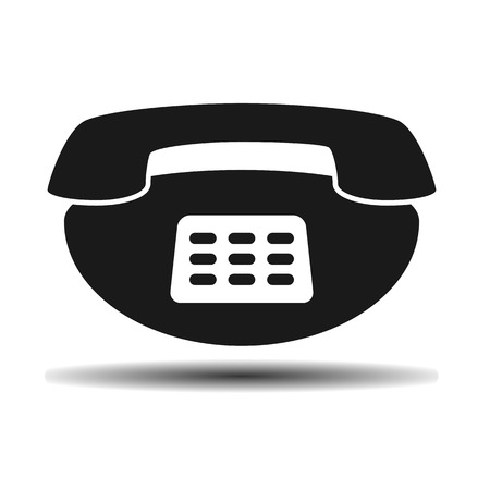 vintage phone: black old vintage phone flat vector icon on light background with shadow