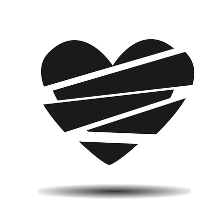 hatred: broken heart vector flat icon on light background with shadow
