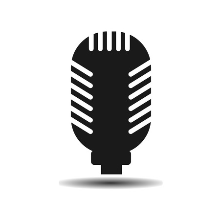 studio microphone: Studio microphone flat vector icon on light background with shadow Illustration