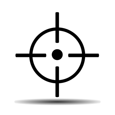 gunsight: gunsight flat vector icon on light background with shadow