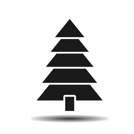 black pine: black pine flat vector icon on light background with shadow