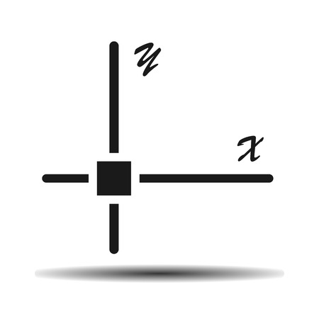 coordinates: mathematical coordinates flat vector icon on light background with shadow