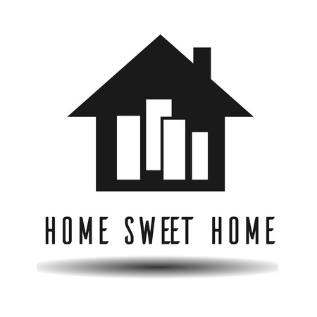storey: single storey home sweet home flat vector icon on light background with shadow Illustration
