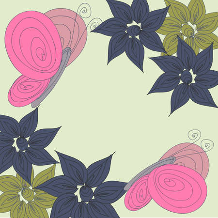 dinner date: Vector postcard floral background in Doodle style