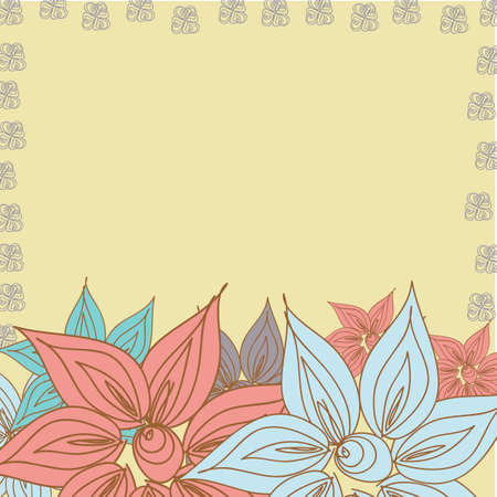dinner date: Vector floral pattern background for spring postcard for mom and other woman in the Doodle style