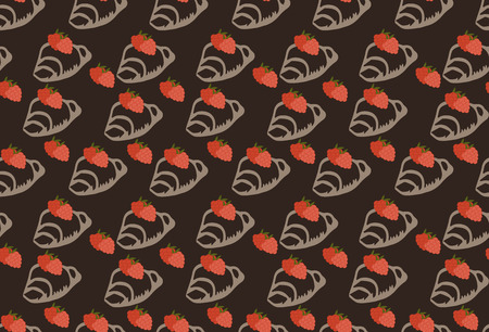 strawberry jam: colored seamless pattern in Doodle style croissant with strawberry jam