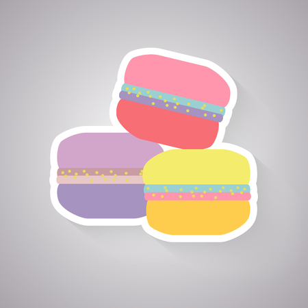 souffle: multicoloured macaroon vector icon with long shadow Illustration