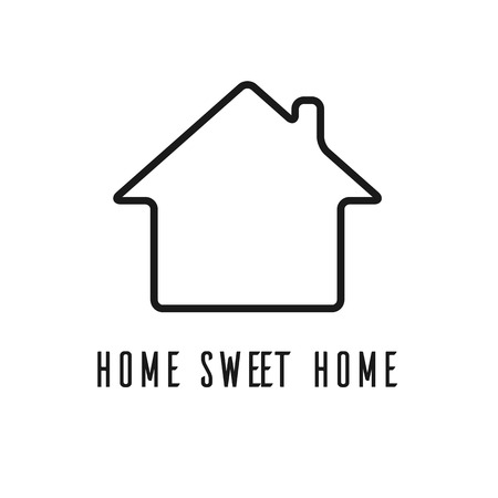 storey: single storey home sweet home flat vector icon on light background