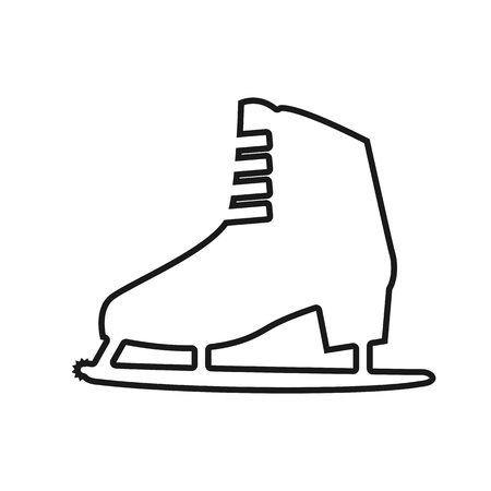 ice skates: Vector icon womens ice skates with shadow on light background