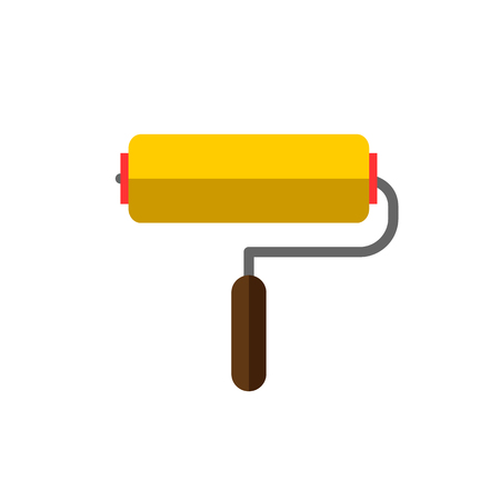paint roller: paint roller on white background flat vector icon Illustration