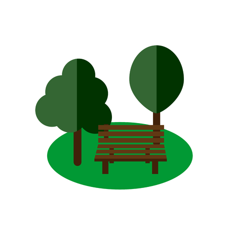 park bench: Park bench on white background flat vector icon Illustration