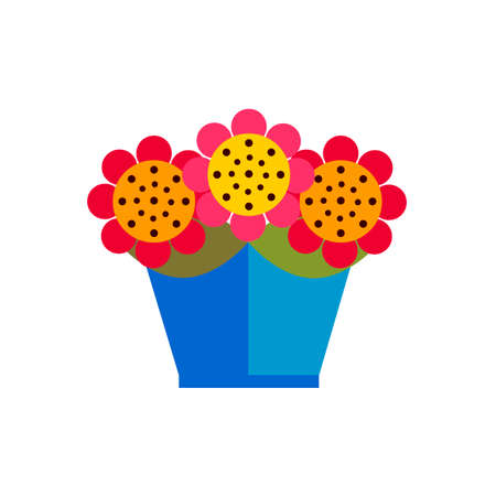 window sill: colorful flowers in pot on white background flat vector icon