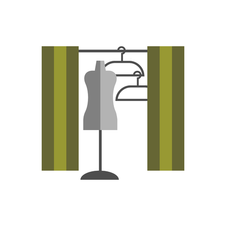 dressing room: dressing room Studio on white background flat vector icon Illustration