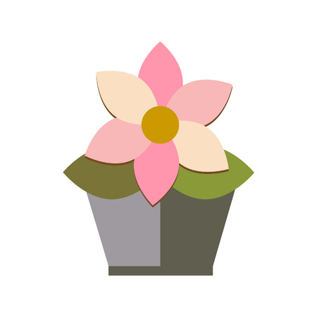sill: flower pot on white background flat vector icon