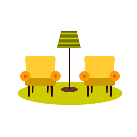 two stroke: two armchairs and floor lamp on white background flat vector icon