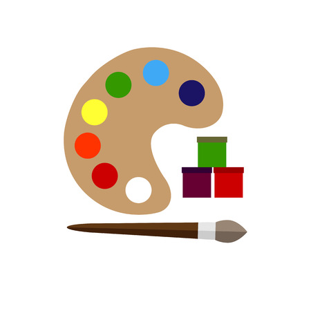 Color palette and brush flat icon on a white background
