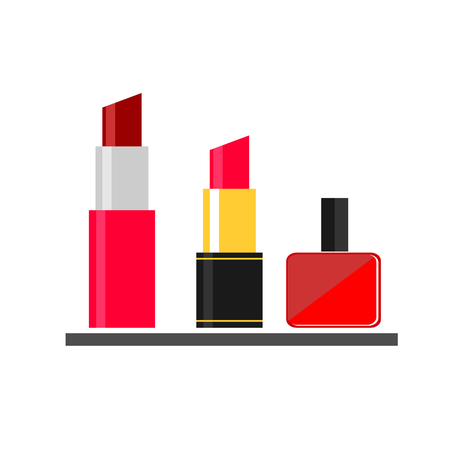 nail varnish: lipstick nail varnish makeup flat icon on a white background