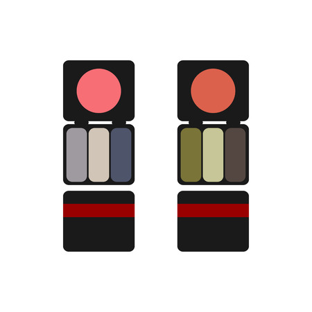 blush: makeup colored blush and eyeshadow flat icon on a white background Illustration