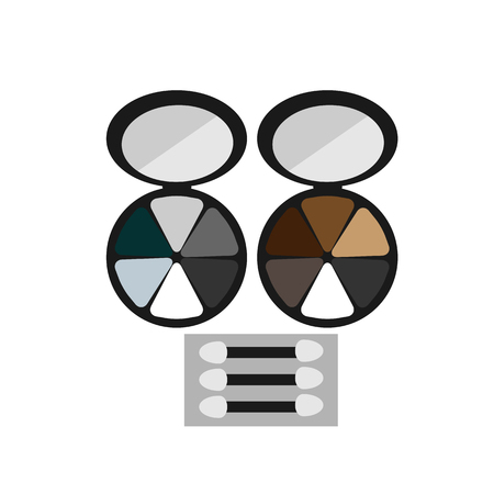eye shadow: makeup colored eye shadow brush flat icon on a white background