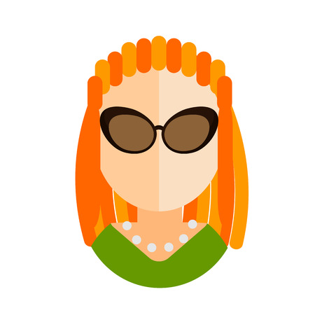 dreads: blonde woman flat icon with glasses and a green dress with the dreads avatar