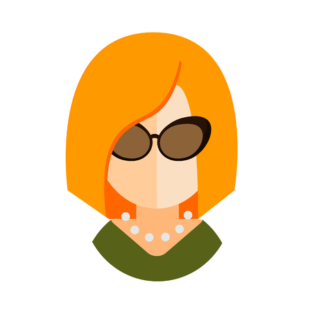 green dress: blonde woman flat icon with glasses and a green dress businesswoman avatar