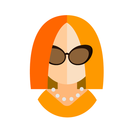 yellow dress: blonde woman flat icon with glasses and a yellow dress businesswoman avatar