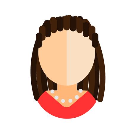 dreadlocks: brunette woman flat icon with dreadlocks in red dress avatar